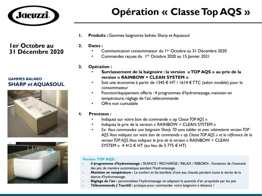 Promotion Jacuzzi BG Bain opération Classe TOP AQS